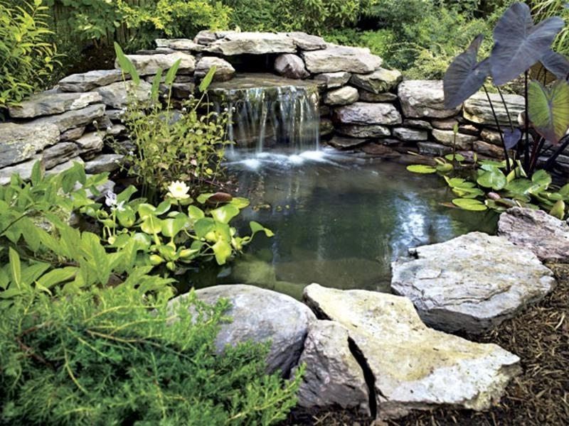Водопад и пруд на даче