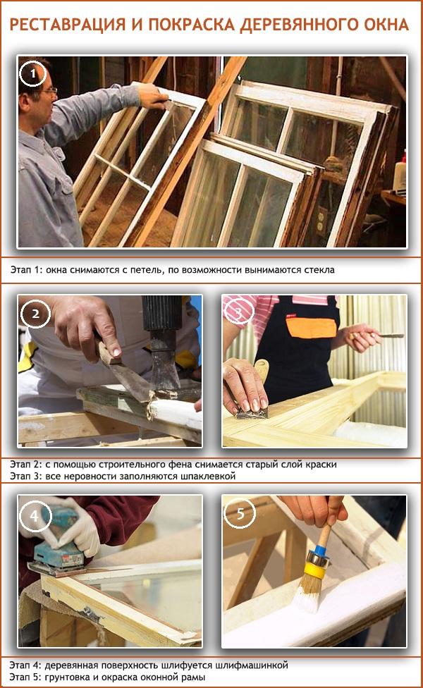 Ремонт и покраска деревянных окон своими руками