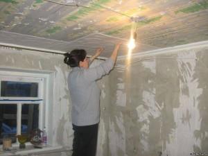 ремонт потолочной плитки