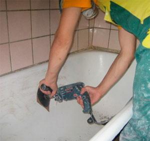 восстановить эмаль ванной-зачистка